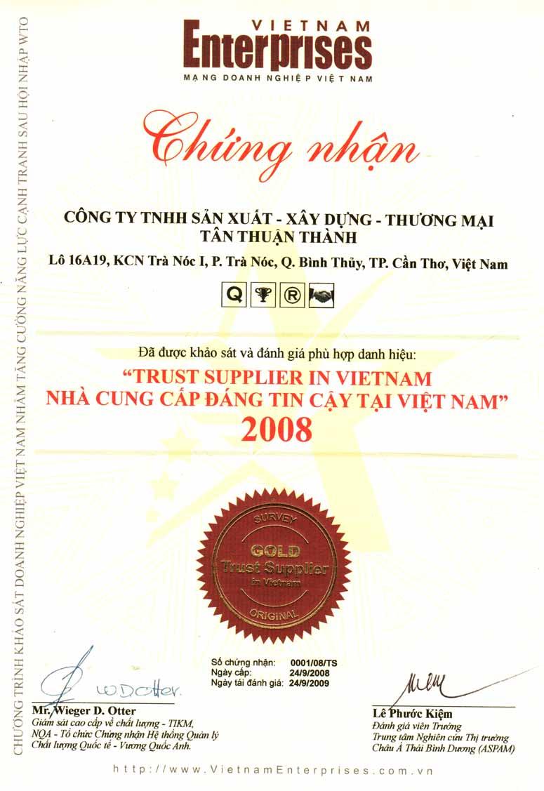 Giấy chứng nhận nhà cung cấp đáng tin cậy VN 2008